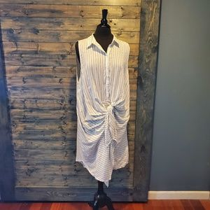 F21 Plus Striped Shirt dress wrap sleeveless knot